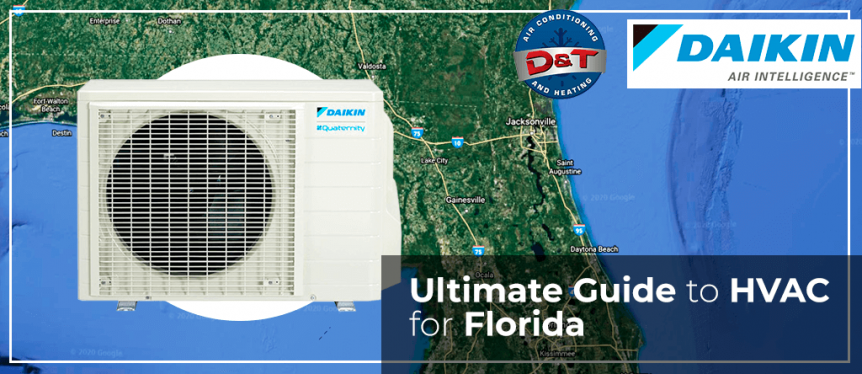 Picture of a map of Florida with a Daikin air conditioner in the foreground